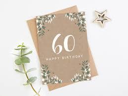 60th birthday card botanical kraft norma u0026dorothy