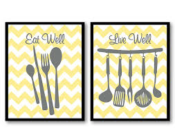 yellow gray grey eat well live well kitchen print set of 2