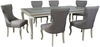 Silver Dining Room Signature Design By Coralayne Silver Rectangular Extendable