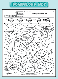 coloring pages math worksheets color by numbers jet 11 15