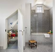 marvelous grey travertine tile interior designs with attic door