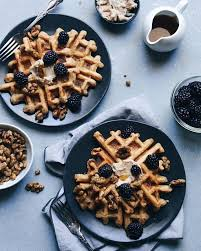 sweet potato waffles with fresh blackberries and honey cinnamon