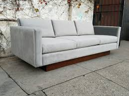floating couch mid century floating sofa in light grey velvet sunbeam vintage
