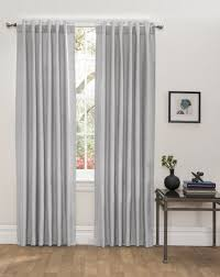 Thermal Back Curtains Textured Light Grey Blackout Thermal Lined Insulated Back Tab Rod