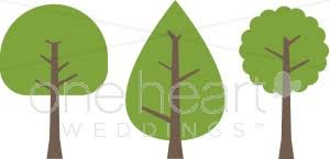 tree trio clipart wedding leaf