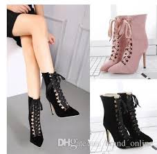 ribbon heels woman strappy high heels pumps ribbon lace up pointy