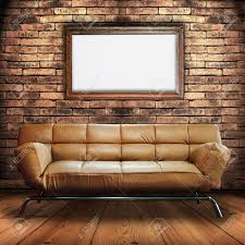 The Brick Leather Sofa Leather Sofa On Wood Floor And Wood Frame Sign In Brick Wall