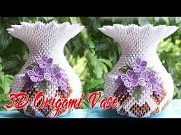 Origami 3d Flower Vase How To Make 3d Origami Flower Vase V1 Flor De Origami 3d Florero