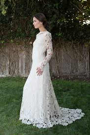 Long Sleeve Lace Wedding Dress Open Back Low Back Crochet Lace Wedding Dress Bohemian Wedding Dress