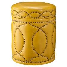 Nailhead Storage Ottoman Yellow Storage Ottoman With Nailhead Trim I Target