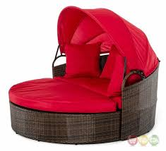 Daybed With Canopy Cove Outdoor Round Day Bed With Red Retractable Canopy Shop