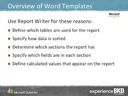 using word templates in dynamics gp
