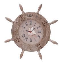 Wooden Anchor Wall Decor Amazon Com Deco 79 Wood Ship Wheel Clock Nautical Maritime Decor