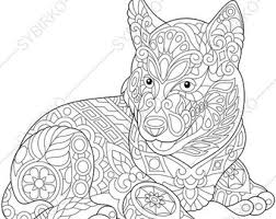 coloring pages welsh corgi dog zentangle doodle
