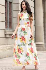 white halter floral pattern chiffon vacation maxi dress casual