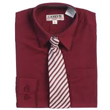 burgundy button up dress shirt gray striped tie set boys 5 18