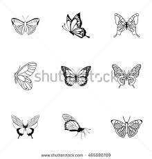 butterfly vector set simple butterfly shape stock vector 465880709