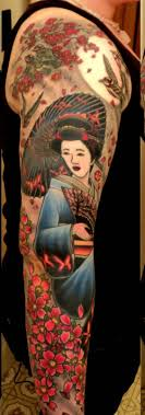 geisha cherry blossom tree n geisha on biceps