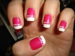 nails with pink u0026 french tip u0026 dots youtube