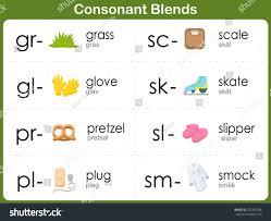 consonant blends worksheet kids stock vector 223787548 shutterstock