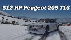 peugeot 205 t16 blizzard peak hill climb 1984 peugeot 205 t16 forza horizon 3