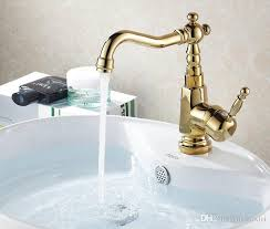 cheap retro golden polished swan neck bathroom faucet