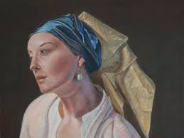 painting girl with a pearl earring saatchi girl with a pearl earring painting by harry vikatos
