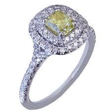 14k white gold cushion cut diamond engagement ring fancy yellow