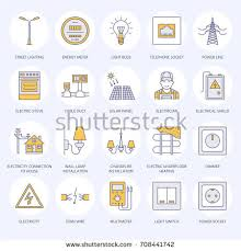 electricity engineering vector flat line icons stock vector