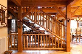 rustic log stair railing houzz