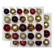 Glass Christmas Ornament Sets - 42ct burgundy gold glass christmas ornament set wondershop