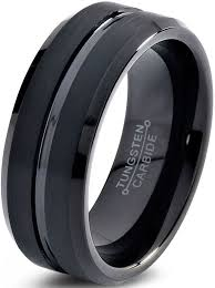 black wedding band tungsten wedding band ring 8mm for men women comfort fit black