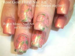 rose gold nail art design elegant roses nails tutorial youtube