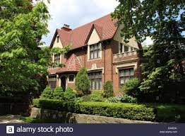 revival house tudor revival house forest gardens new york stock