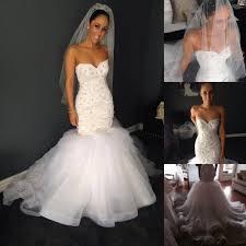 custom made luxury white heavy beaded pearl mermaid wedding
