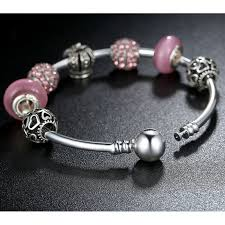 european style bracelet charms images European style bracelet with silver charms and pink murano glass jpg