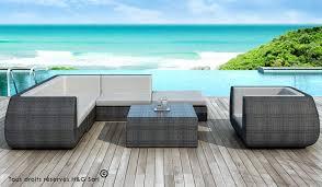 salon de jardin exterieur resine salon de jardin bas lounge luxe résine grise 6 à 8 places