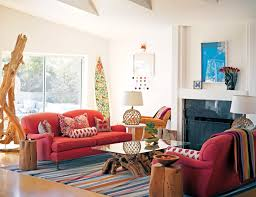 living room colorful wool rug with red fabric sofa set also