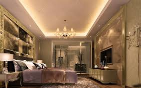 luxury gypsum board ceiling with purple bed and amazing plastered