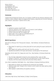 example of a warehouse resume warehouse worker resumes resume