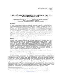 validación del test de perfil relacional rpt en una muestra