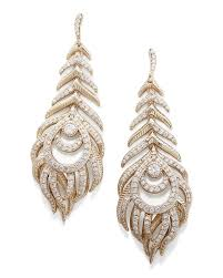 statement earrings elettra feather drop earrings in gold kendra