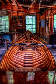 inside the boatshop at great camp sagamore a guideboat on the