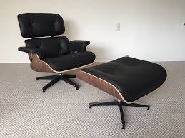 eames style lounge chair and ottoman in italian leather and