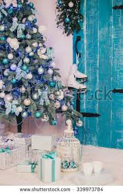 Christmas Tree Decorations In Blue Silver And White by Blue And Silver Christmas Presents Stock Images Royalty Free