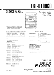 Cnd 181 Sony Lbt D109cd Service Manual Immediate Download