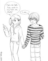 boy and holding hands anime sketch drawing of sketch