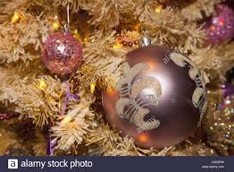 Canada Christmas Ornaments Ornaments On A Christmas Tree Edmonton Alberta Canada Stock Photo
