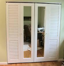 Bifold Closet Doors Menards Custom White Mirrored Bifold Closet Doors Chocoaddicts