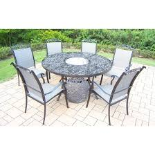 Cascade Piece AluminumSling Stationary Round Patio Dining - 7 piece outdoor dining set with round table